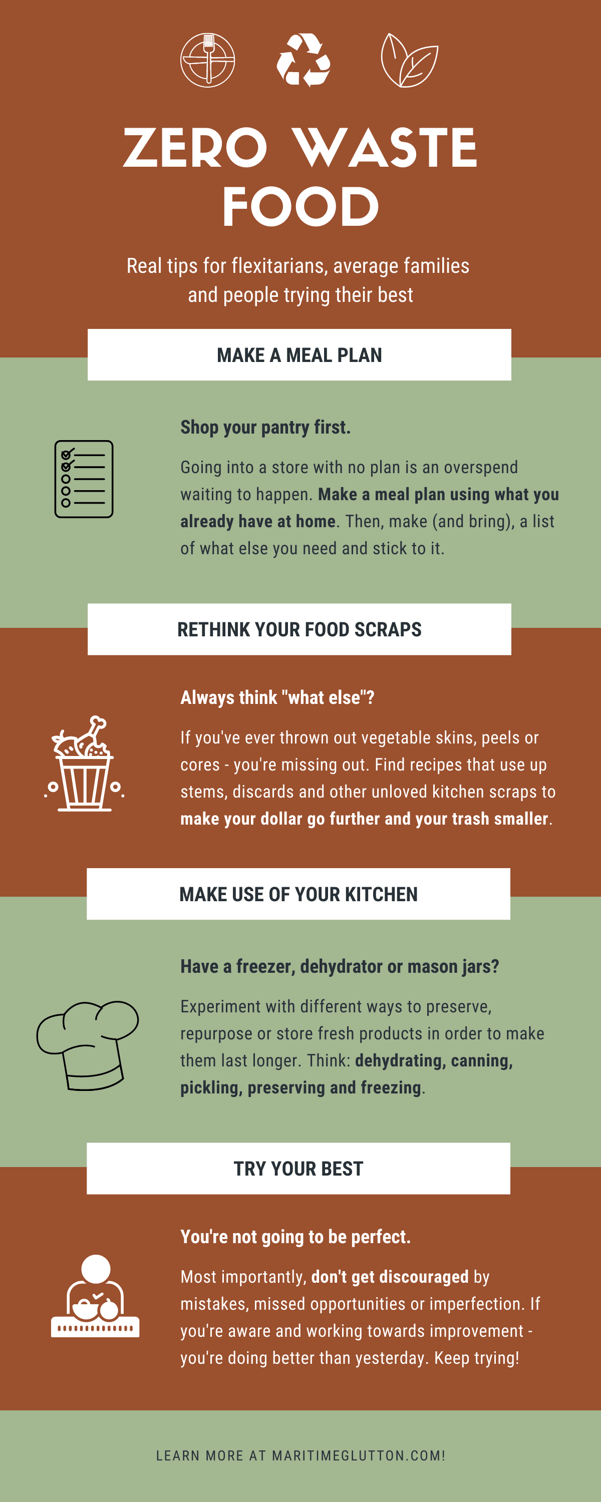 "An infographic about zero waste food with 4 main tips. Caption reads ""real tips for flexitarians, average families and people trying their best""."