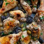 perfectly tender and crisp chicken marbella in a flavourful marinade of olives, capers and prunes