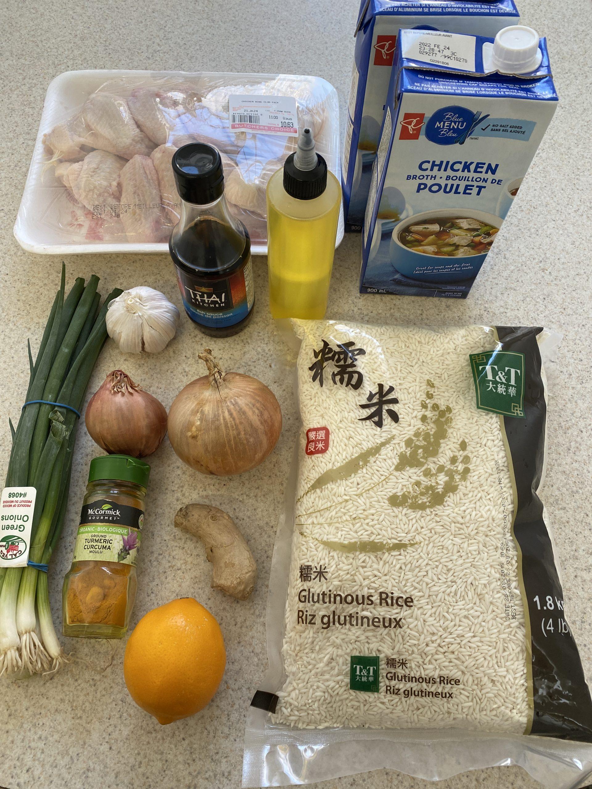 All of the non-prepared ingredients to make the perfect Arroz Caldo recipe