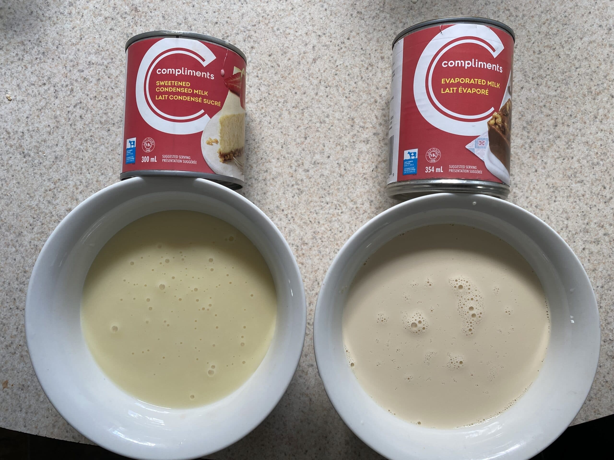 Two bowls filled with condensed milk versus evaporated milk to show the difference in texture.