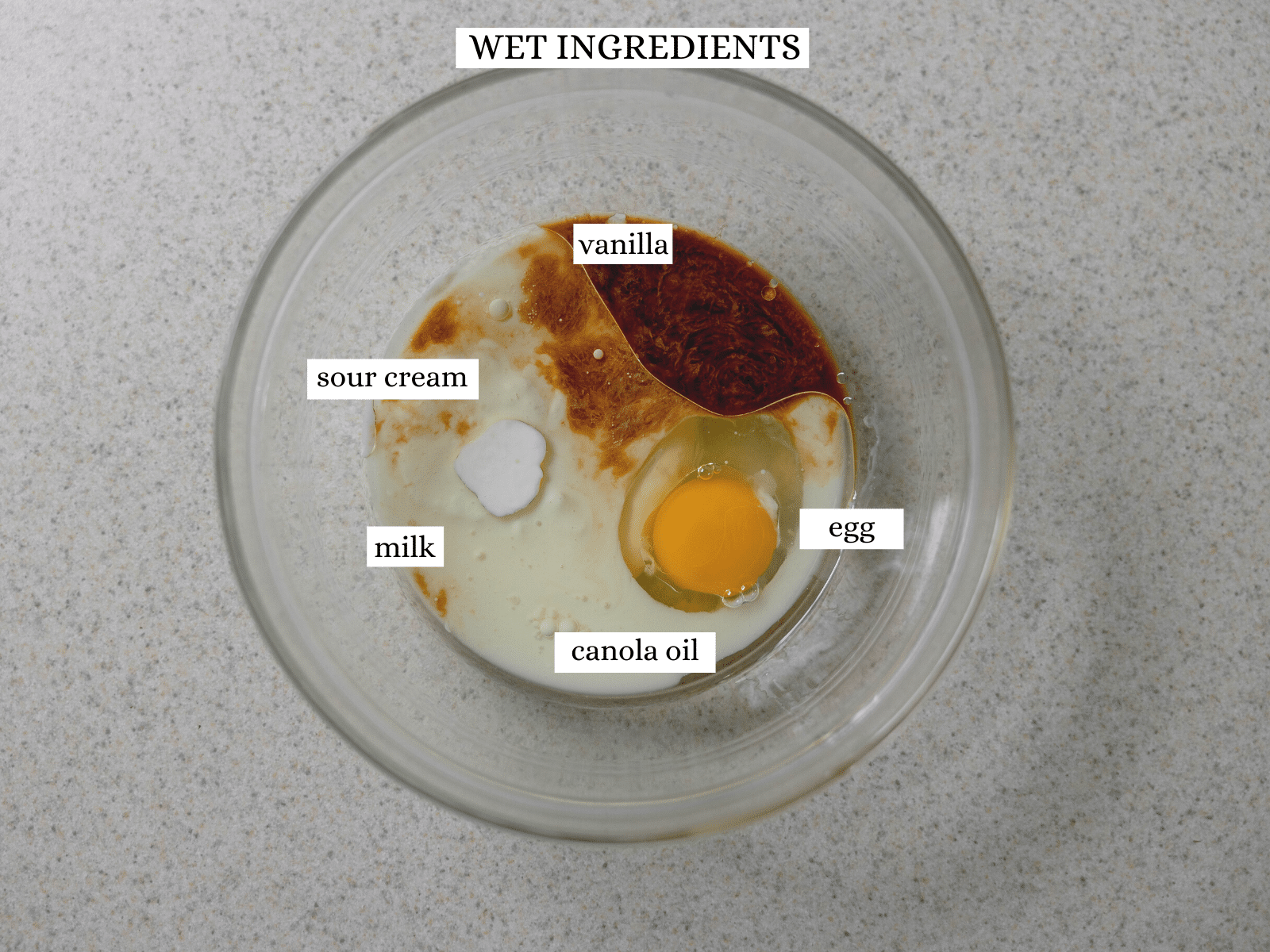 The wet ingredients (vanilla, sour cream, milk, an egg and canola oil).