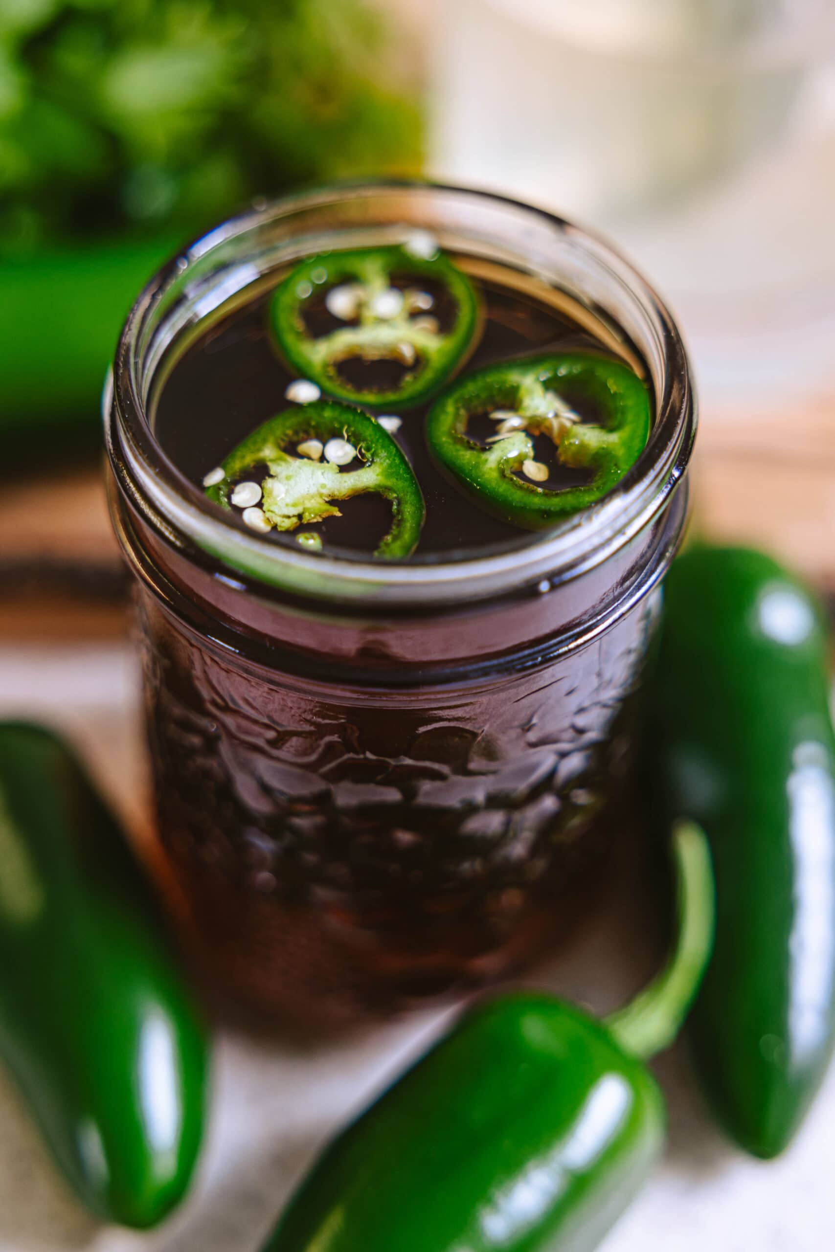 A close up shot of the jalapeño simple syrup